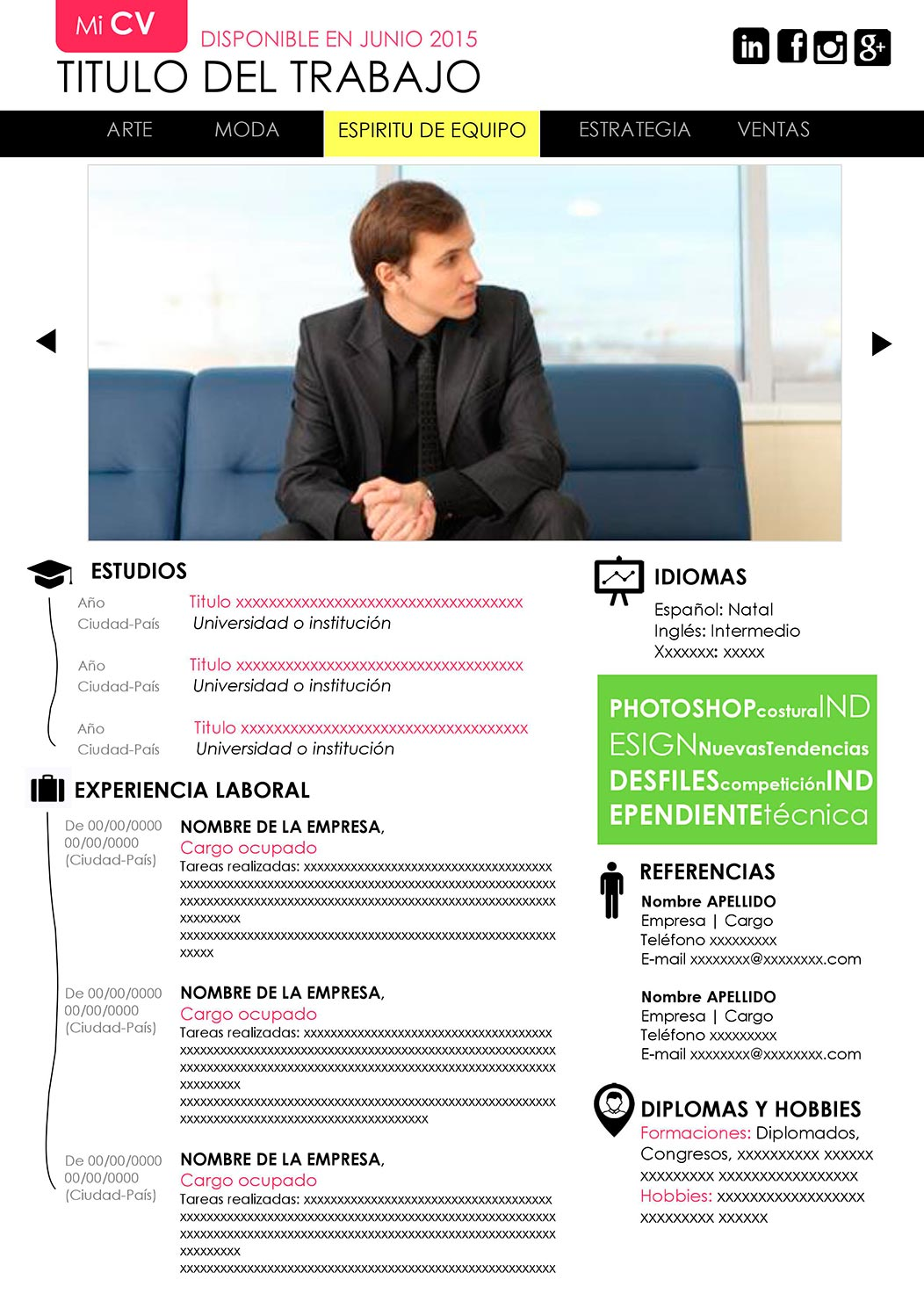 Modelo de Curriculum para Descargar - Website | CV Premium