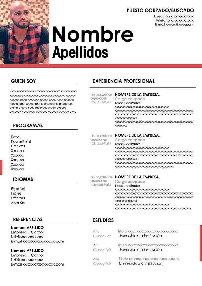 Curriculum Vitae Para Imprimir Plantilla Word Gratis