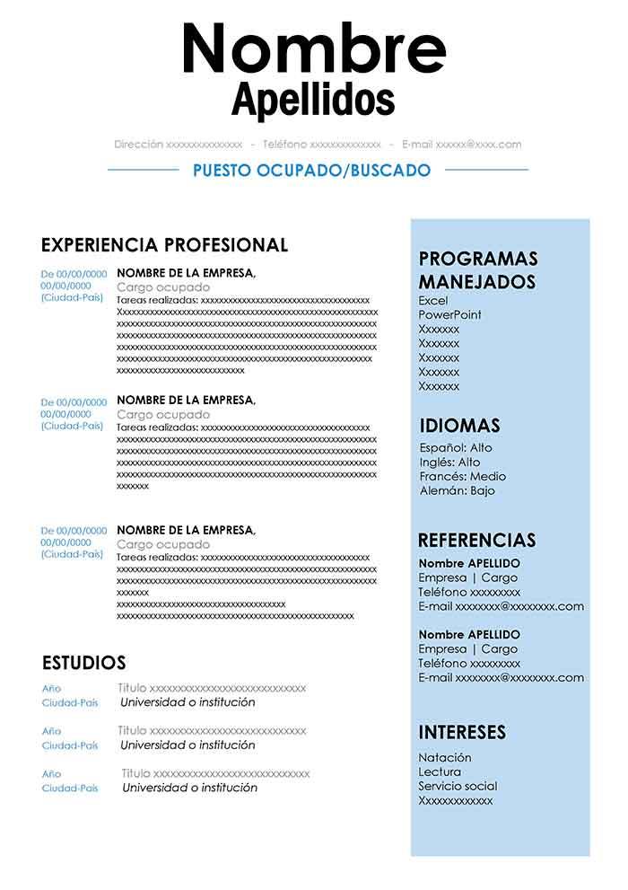 Formato De Curriculo Gratis Para Descargar Diseno Cv Word