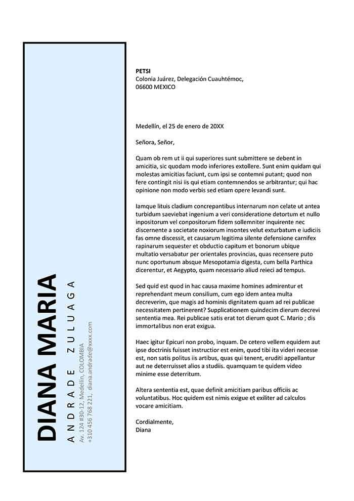plantilla de carta de presentación para Curriculum