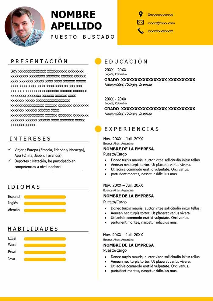 formato curriculum vitae español