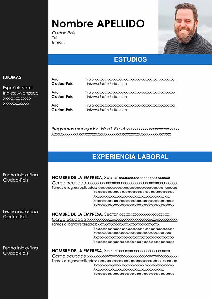 curriculum vitae download com foto