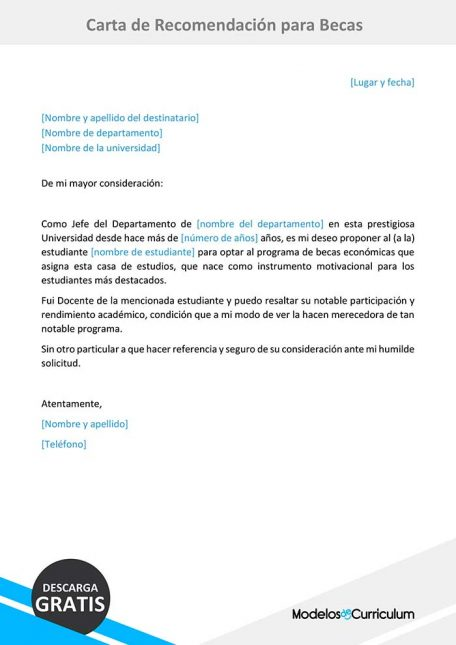 carta de recomendacion para beca