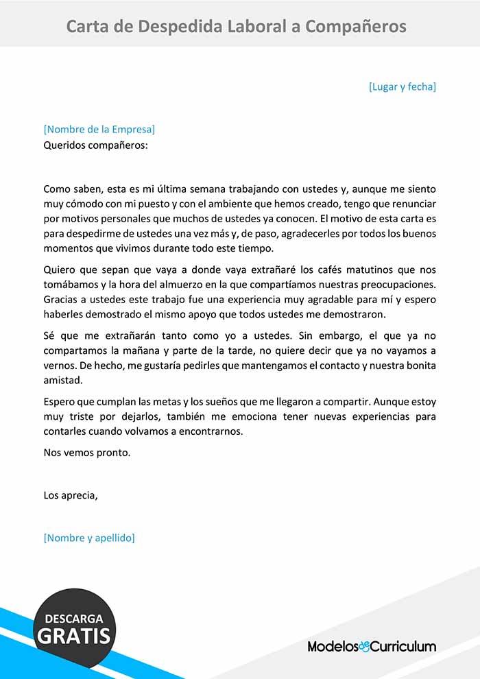 Carta De Despedida Laboral A Compañeros Ejemplo Gratis
