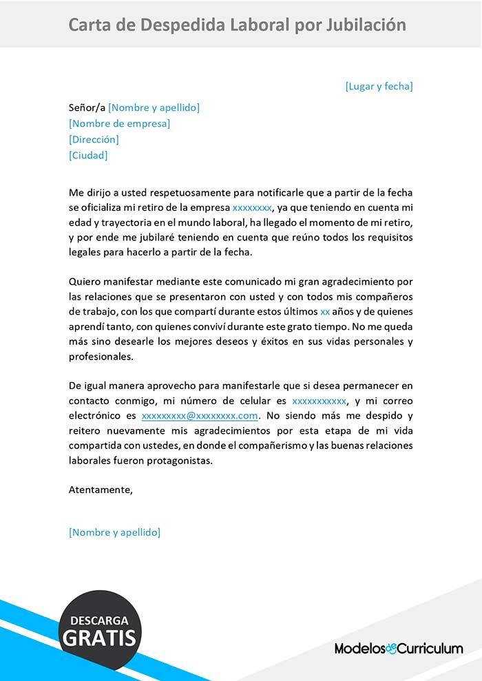 carta de despedida laboral por jubilacion