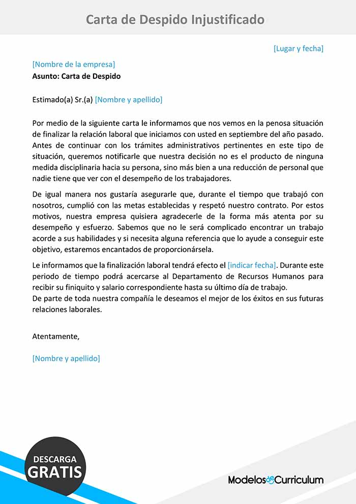 carta de despido injustificado