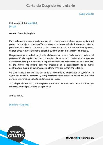 carta de despido voluntario