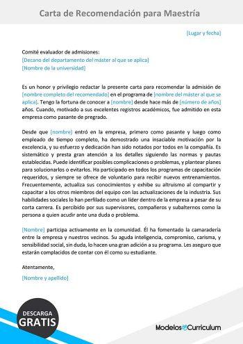 carta de recomendacion para maestria
