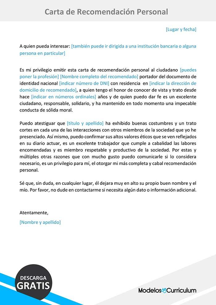 Ejemplo De Carta De Recomendacion Personal Formato Word