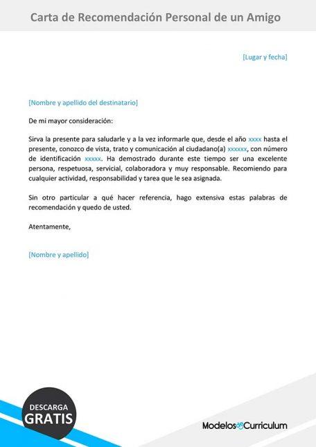 carta de recomendacion personal de un amigo