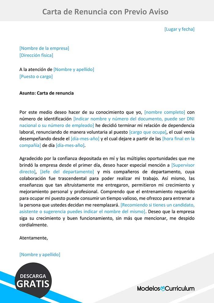 carta de renuncia con preaviso