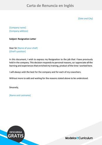 carta de renuncia en inglés
