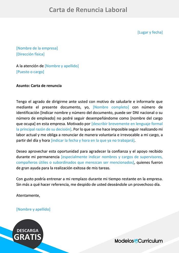 Carta De Renuncia Laboral Descarga Gratis En Word Trabajo