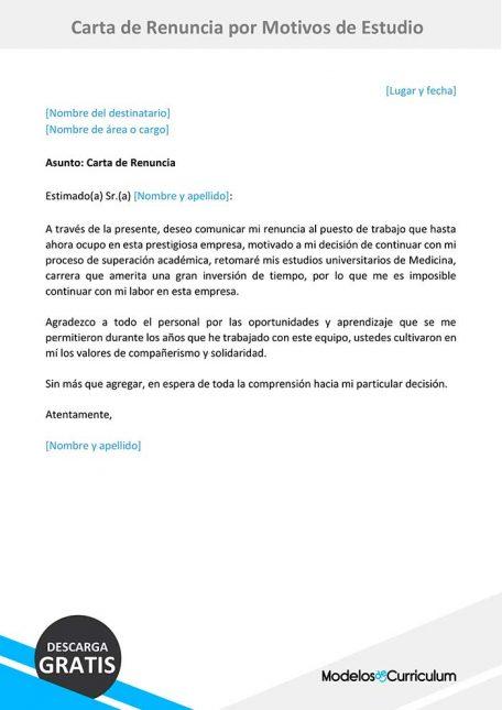 carta de renuncia por motivos de estudio