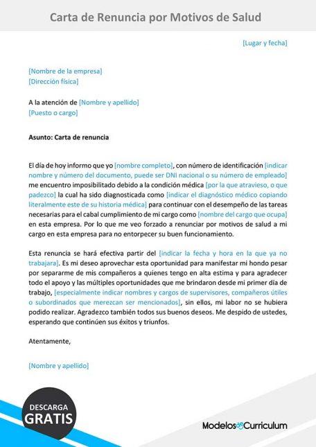 carta de renuncia por motivos de salud