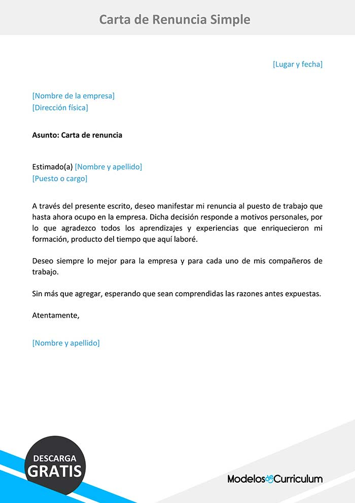 Modelo De Carta De Renuncia Simple En Word Sencilla Y