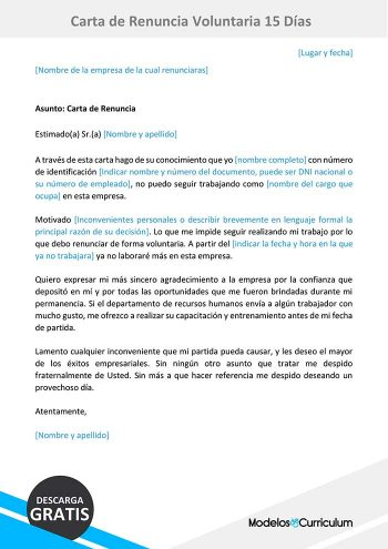 carta de renuncia voluntaria 15 días
