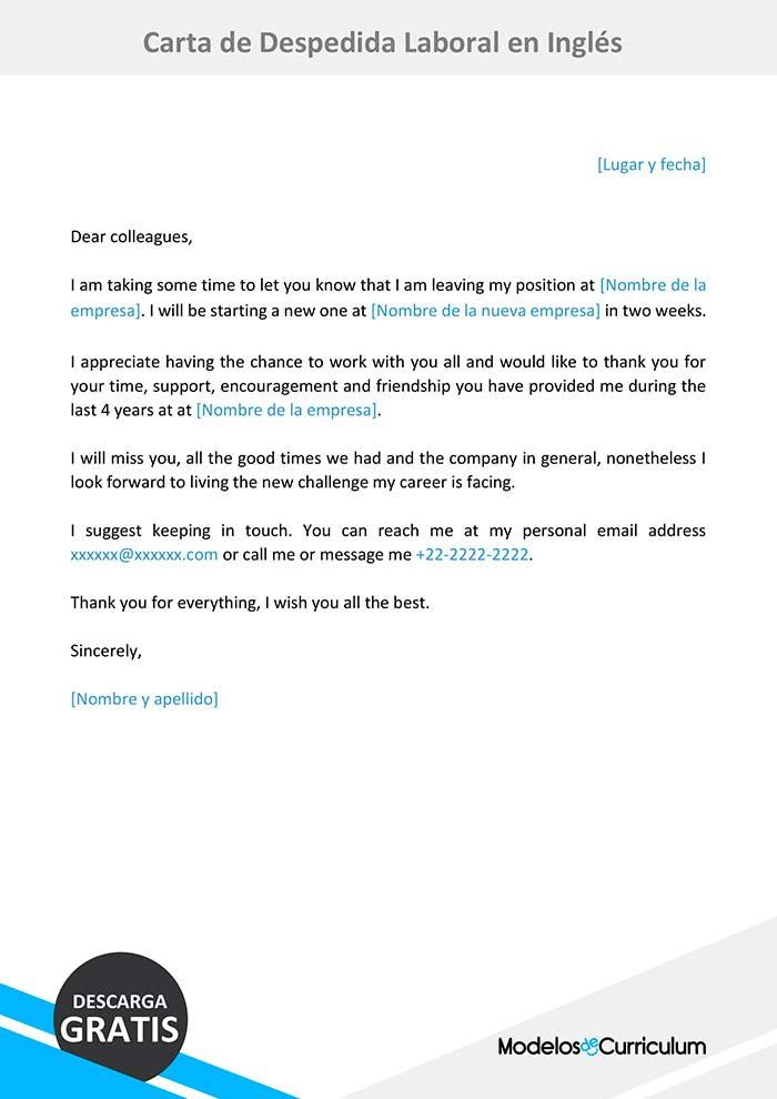 Carta De Despedida Laboral En Inglés Ejemplo Gratis