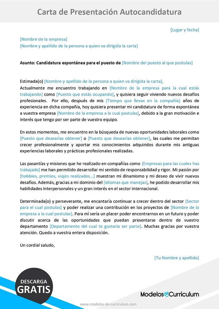carta de presentación autocandidatura