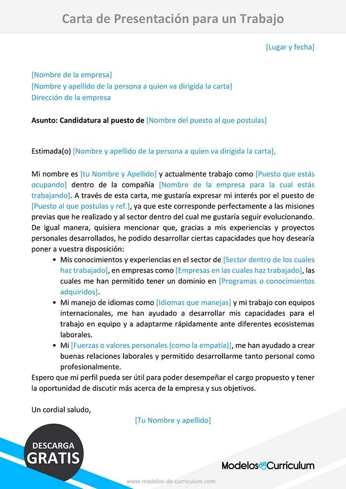 Modelo De Carta De Presentación Para Un Trabajo Carta Word