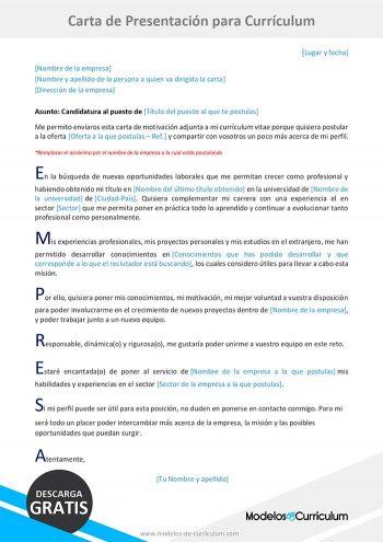 carta de presentación para curriculum original