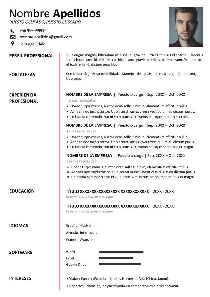 Formato De Curriculum Vitae Chile 2020