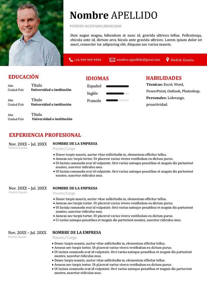 modelo de curriculum españa
