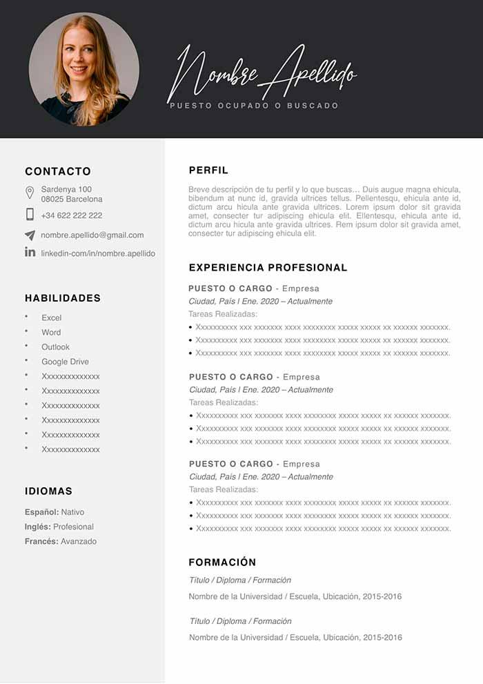 plantilla curriculum vitae para mac pages