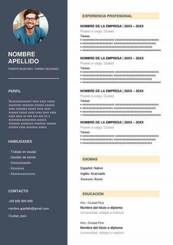 plantilla cv para word gratis